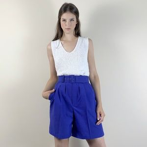 Vintage 90s high waisted pleated short with matchi